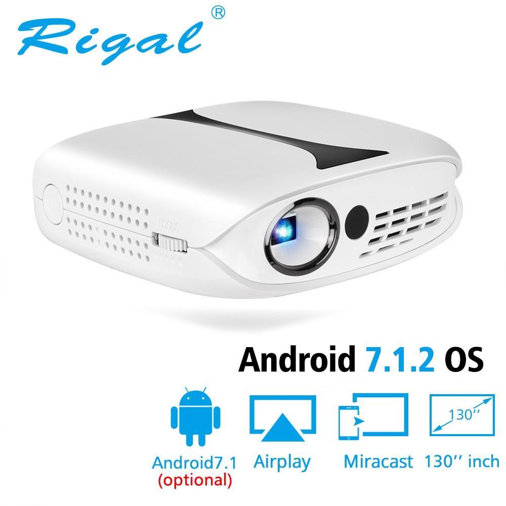 Rigal RD606 Mini led projecteur dlp En Option HD WiFi Android 7.1 Poche Pico Projecteur Support de Batterie 1080 P 3D Téléphone USB beamer