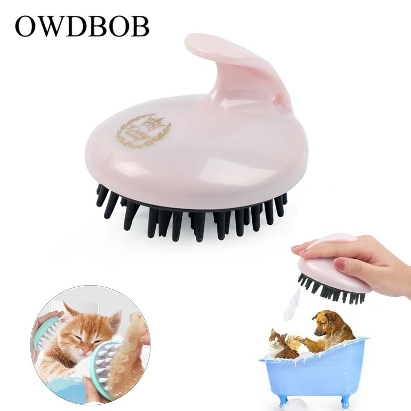 OWDBOB Comfortable Pet Brush Puppy Cat Washing Cleaning Bath Brush Comb Soft Dog Shower Massage Brush Fur Grooming Pet Supplies