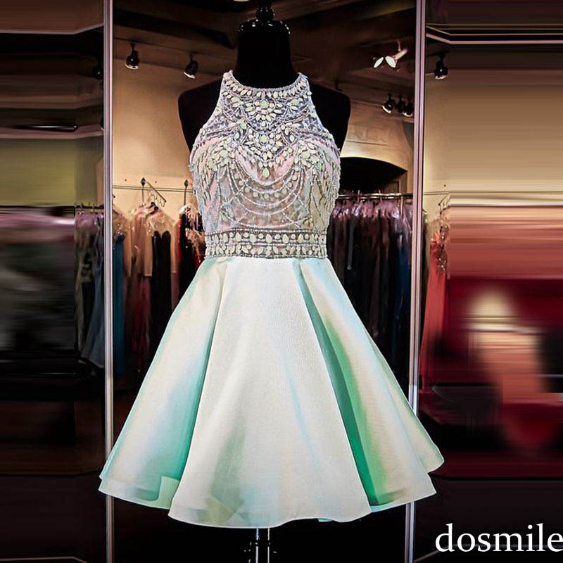 eee9ef856e78 2016 Homecoming Dresses A Line Sleeveless Zipper Back Mint Green Beaded  Cheap Cute 8th Grade semi formal Prom gowns Custom Made-in Homecoming  Dresses from ...