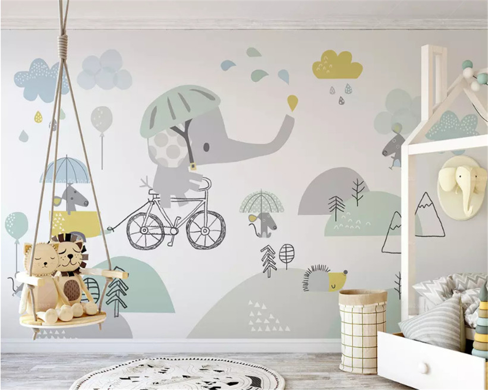 US $8 85 OFF Beibehang Custom Size Eco 3d Wallpaper Cute Elephant Bike Hamster Cloud Child Background Papel De Parede Wall Papers Home