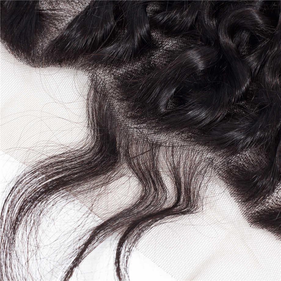 По глубокой волне 13x6 Кружева Фронтальная Закрытие бесплатная часть HD швейцарское кружево Средний коричневый Ким К закрытие бразильские человеческие волосы Remy закрытие