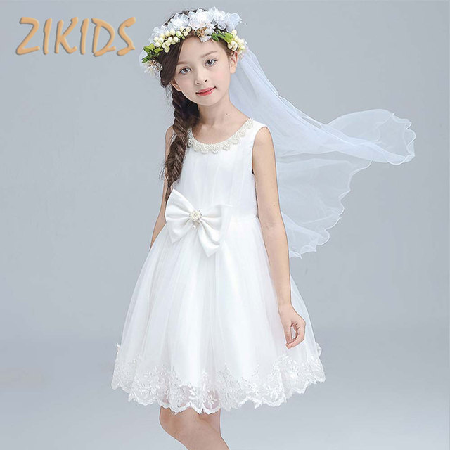 3 12Y Girls White Princess Dress Summer 2017 Lace Pearls Bow Dresses ...
