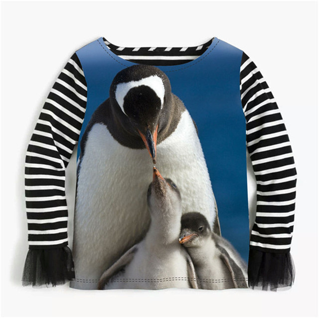 Spring Autumn Girls Clothes South Pole Penguin Baby Blouses Stripe