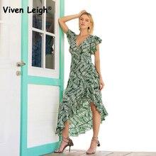 ccd39ef9f46 Viven Leigh Elegant Tropical Leaf Print Dress Cascading Ruffles High Waist  Asymmetrical Dress Summer Beach Women Long Dresses