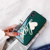 NIEUWE Aankomst Liefde Woorden Bloem IMD Print Zachte Siliconen Rand mobiele Telefoon Gevallen Voor iPhoneX 9 H Gehard Glas Beschermende Shell tas