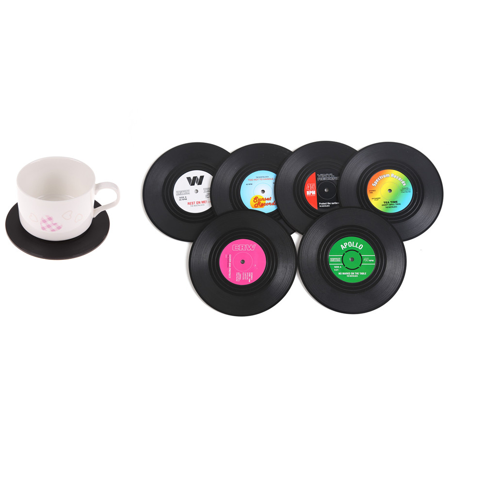 6Pcs/Set Retro Vinyl Coaster Silicone Tea Cup Drinks Coasters Coffee Mug Holder Table Mats for Placemat Pads for Bar Home Cup ...