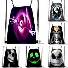 Custom Nightmare Before Christmas Black Lobb Drawstring Backpack Bag Cute Daypack Kids Satchel (Black Back) 31x40cm#180531-03-38