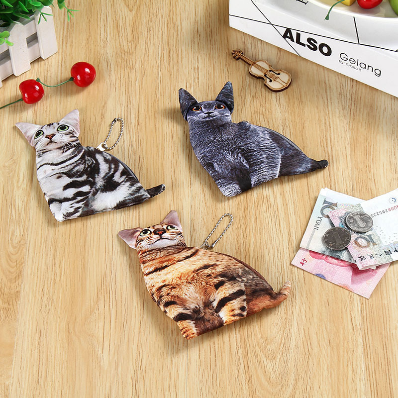 купить Fashion Women Coin Purses Cute Girl Animal Mini Bag Key Ring Case Zipper Wallet Lovely Cat Face Pouch Change Purse wholesale недорого
