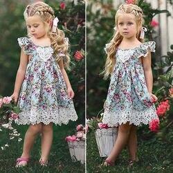 2018 neue Blume Spitzenkleid Prinzessin Kinder Baby Mädchen Ärmelloses Kleid Blumen Tüll Party Hochzeit Kleid Kinder Sommer Sommerkleid