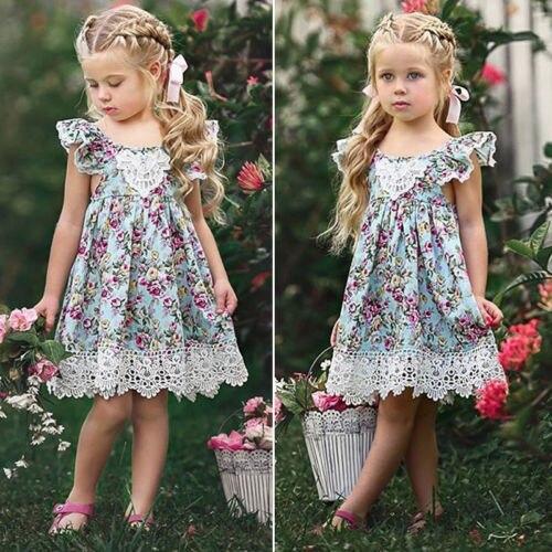 2018 nuevo vestido de encaje de flores princesa niños niñas vestido sin mangas Floral tul fiesta vestido de novia niños verano vestido de verano