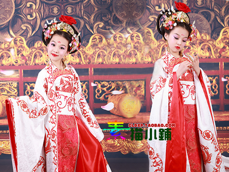 White Satin Little Meiniang  Costume Children's Day TV Play Legend Of Empress WuMeiNiang Same Design Tang High Waist Costume
