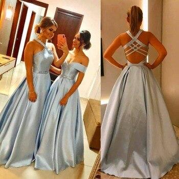 Sky Blue Prom Dress Long 2019 Elegant Cheap Off the Shoulder Backless Floor Length Women Formal Evening Dresses vestidos de gala