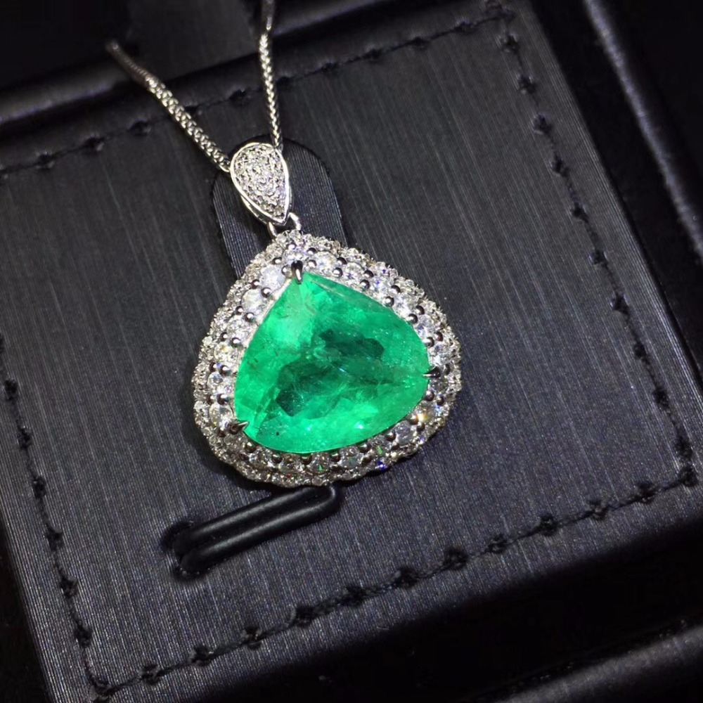 Fine Jewelry Certificate Real Pure 18 K White Gold AU750 Natural Green Emerald 4.65ct Gemstones Pendants for Women Fine NecklaceFine Jewelry Certificate Real Pure 18 K White Gold AU750 Natural Green Emerald 4.65ct Gemstones Pendants for Women Fine Necklace