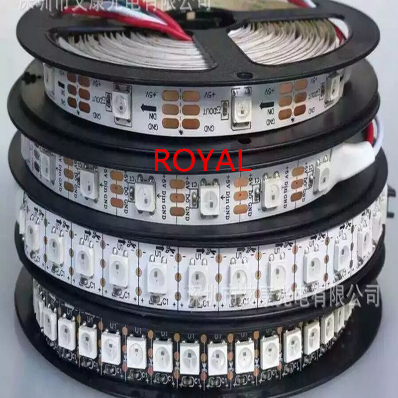 Купить WS2812B Smart RGB LED Pixel Strip 1m/4m/5m Black/White PCB 30/60/144 leds/m WS2812 IC , 30/60/144leds/m pixels IP20 IP67 DC5V в Москве и СПБ с доставкой недорого