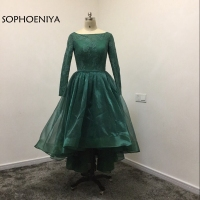 New Arrival Organza Green Long sleeve Evening dress 2019 Kaftan Arabic Evening gowns Formal dress evening party dresses