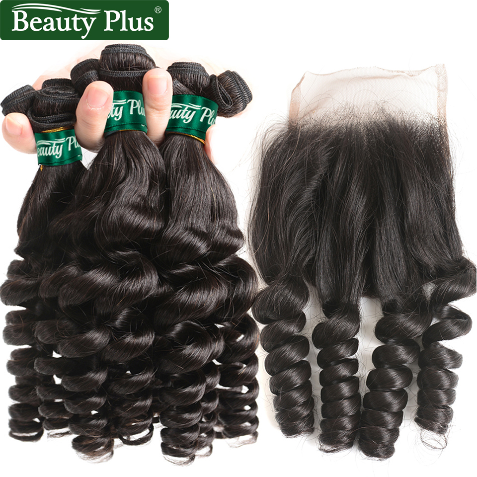 Curly Bundles With Closure Pre Plucked Remy Funmi Human Hair Extension Spiral Curl Beauty Plus Malaysian Curly Hair With Closure