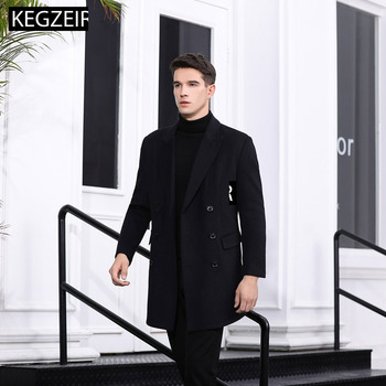 KEGZEIR 2019 Winter Business Long Mens Coat Slim Double Breasted Mens Peacoat Casual Fashion Mens Wool Jacket Cappotto Uomo