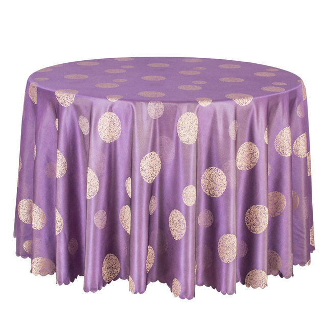10PCS Poly Jacquard Tablecloth Purple Round Table Cloths Elegant Dining  Table Cover For Party Hotel Wedding