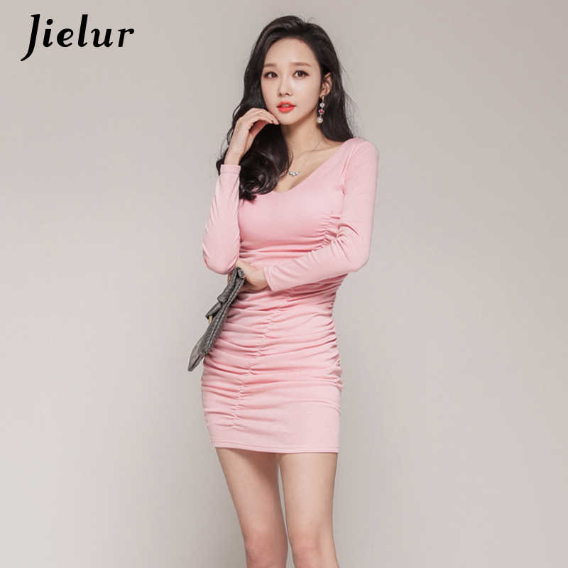a761d0943bd1f2 ... Jielur Dress Women Pink Sweet Sexy V-neck Long Sleeve Dresses Elegant  Chic Casual Sukienka ...