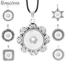 Fashion Metal Interchangeable Flower Tree Ginger Necklace 017 Fit 18mm Snap Button Pendant Necklace Charm Jewelry For Women Gift(China)