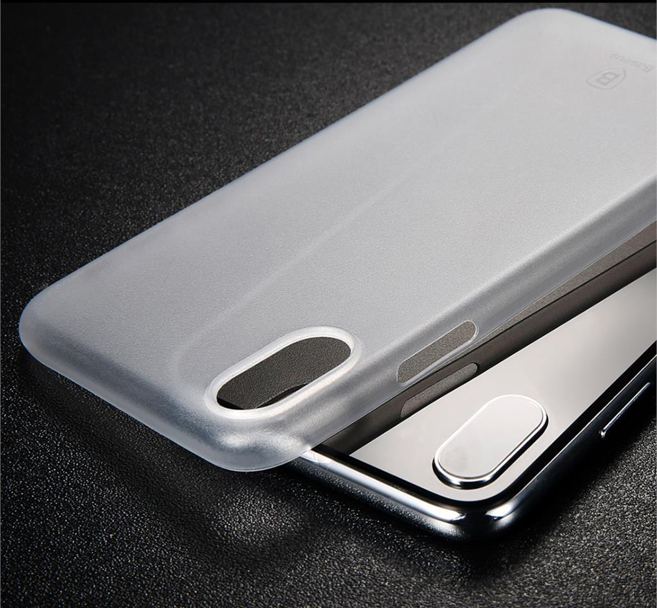 Baseus Luxury Simple Phone Case For iPhone X Smooth Matte PP Case For iPhone 11 Pro Max Ultra Thin Back Phone Cover Xs Max Coque