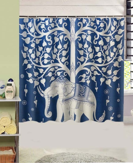 Tree Of Life Bohemian Tapestry Hippie Design Polyester Fabric Shower Curtain  180x180 cm Waterproof Mildewproof Shower - Tree Of Life Bohemian Tapestry Hippie Design Polyester Fabric