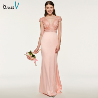 Dressv elegant flesh pink v neck bridesmaid dress short sleeves floor length wedding party women lace bridesmaid dresses