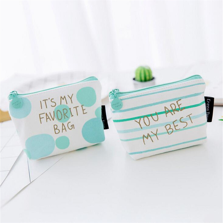 M128 2017 Cute Canvas Women Purses Cartoon Green Fresh Geometric Pattern Big Points Stripe Small Dot Coin Wallet Card Bag japanese pouch small hand carry green canvas heat preservation lunch box bag for men and women shopping mama bag
