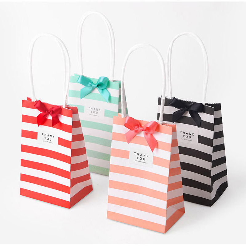 10pcs Mini Gift Bag With Handles, Ribbon, Stickers Stand Up Small Candy Bags Wedding Favors Birthday Decoration Party Supplies