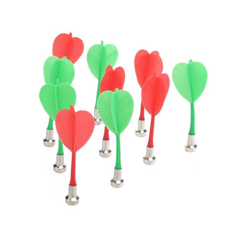 10pcs Replacement Durable Safe Plastic Wing Magnetic Darts Bullseye Target Game Toys (Red & Green)