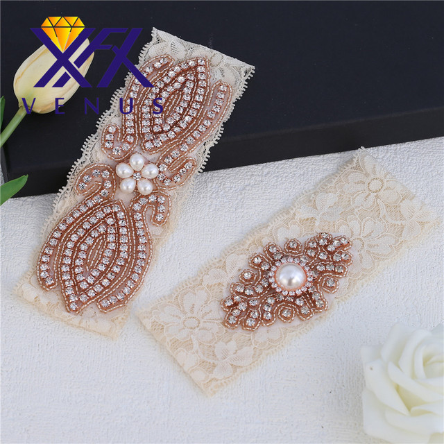 1b19e6c99a4 Bridal Wedding Garter Belt Set with Rose Gold Crystal Applique Ivory Lace  Strong Stretch Plus Size for Bride Keepsake Gifts