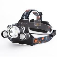 1set 4000 lumens Headlight Headlamp 3x XML T6 LED Headlight Head lamp 2 * 18650 Battery& AC/Car Charger light DropShip
