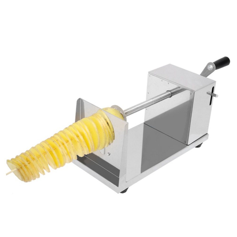 Manual Stainless Steel Twisted Spiral Potato Slicer French Fry Tornado Potato Tower Fruit & Vegetable cutter Kitchen Tool manual tornado stainless steel spiral potato slicer chips cutter kitchen vegetable tools zf