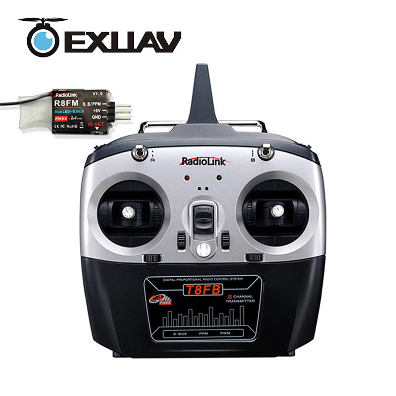 EXUAV RadioLink T8FB Controller 2.4G 8CH FHSS RC Transmitter Remote Control With R8EF Receiver radiolink t8fb 2 4ghz 8ch rc transmitter with r8eh receiver combo remote rontrol for rc helicopter diy rc quadcopter plane