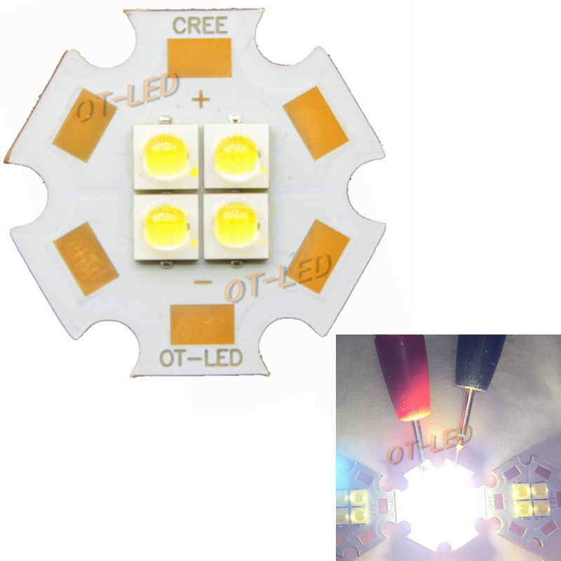 2PCS 6V/12V 3535 4Chips 4W-12W LED Emitter Cool White Warm White LED Diode with 20MM Copper PCB for DIY
