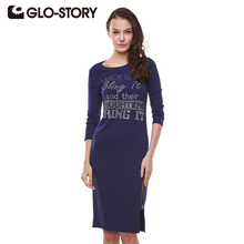 GLO-STORY Band 2017 Hot Sale Split Summer Dress Casual Women dresses Solid O-neck Bodycon Dresses Sexy Party Dress