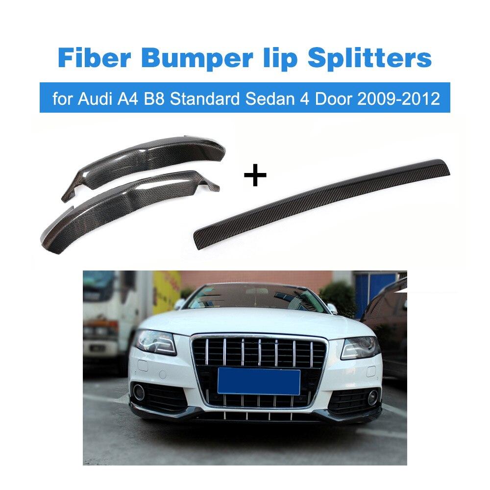 carbon Fiber Bumper Splitter Front Bumper Lip Center And Apron Splitter for Audi A4 B8 Standard Sedan 4 Door 2009-2012 3pcs