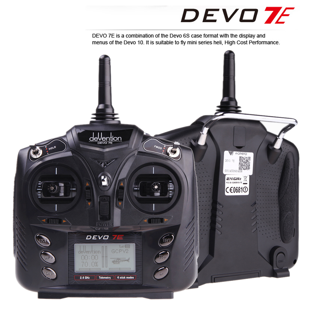 Walkera DEVO 7E 2.4G 7CH DSSS Radio Control Transmitter for RC Helicopters Airplanes Model 2 Mode 1 F18519 original walkera devo f12e fpv 12ch rc transimitter 5 8g 32ch telemetry with lcd screen for walkera tali h500 muticopter drone