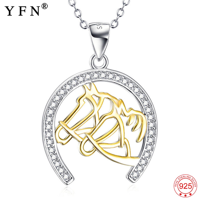 Necklace 925 Sterling Silver Necklace Jewelry For Women Horseshoe Animal Pendants Necklaces Fashion Christmas Gifts GNX10258 edi trendy swan shape animal 100% 925 sterling silver rings for women ctue jewelry christmas gifts