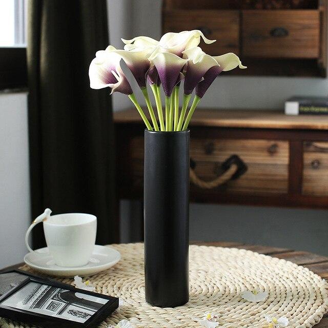 Simple Modern Matt Black Ceramic Art Vase Dining Room Table Decor