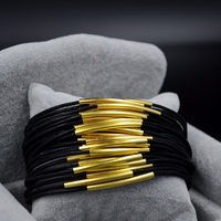 Hide Rope Chain Black Leather Cuff Bracelet Anchor For Men And Women Gold Plated Magnet Bezel