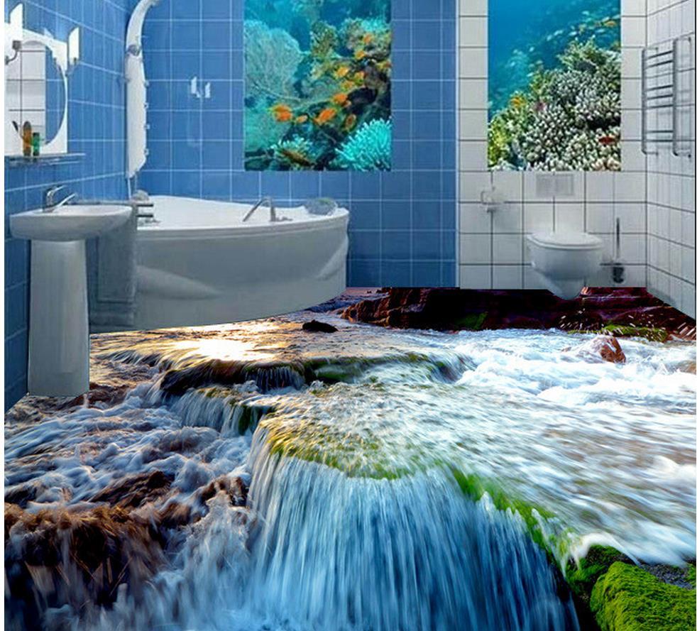 3D water stone floor bathroom 3d wallpaper waterproof pvc self adhesive wallpaper 3d wallpaper ...