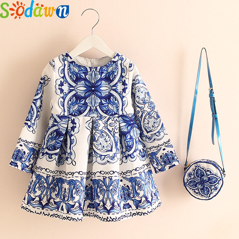Sodawn 2017Autumn Children Clothes Girls Dress Europe And United States Brand Summer New Cotton Linen+Bag Flowers Grils Clothes 2017 children summer wear girl s printing in europe and the united states foreign trade dress sleeveless flower princess dress