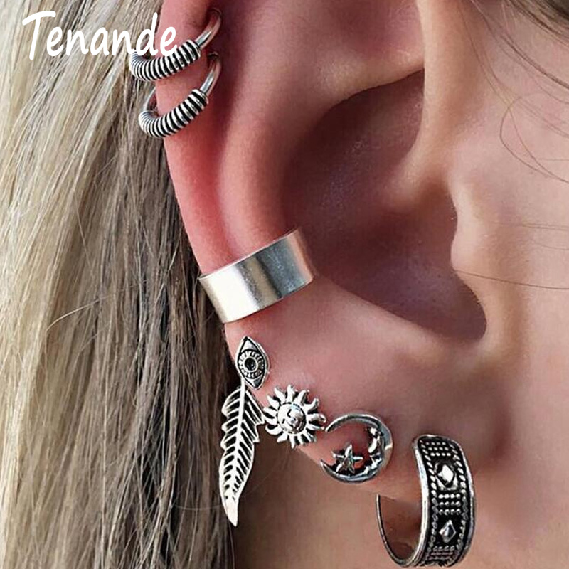 Clip Earrings Earrings Tenande 7 Pairs/set Punk Big Sun Flower Leaf Moon Star Evil Eye Clip Earrings For Women Simple Style Silver Color Party Jewelry To Clear Out Annoyance And Quench Thirst