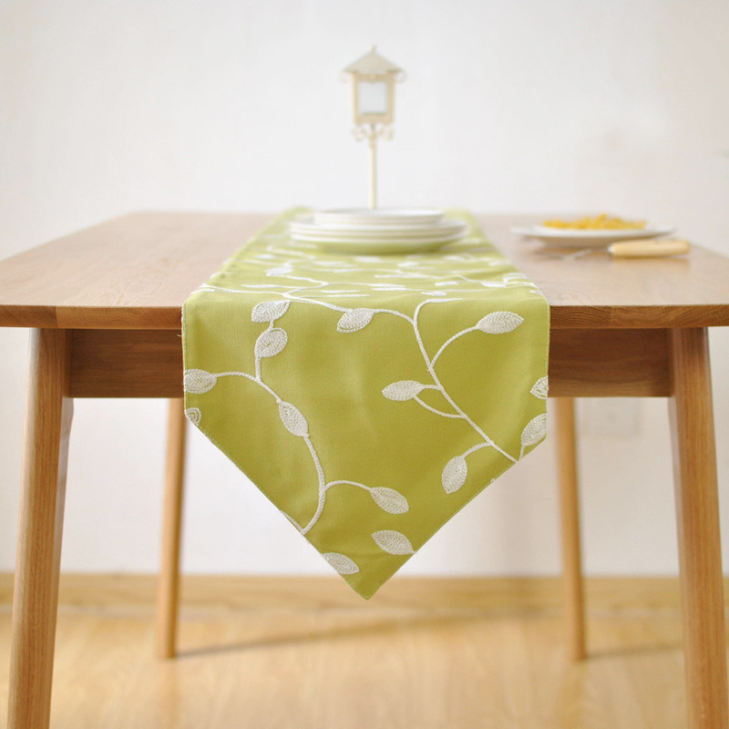 BZ382 Embroidered cotton fabric table runner table cloth ...