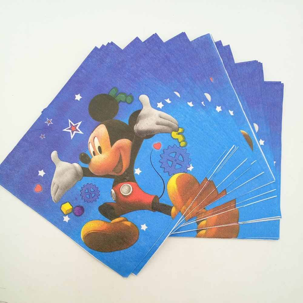 20pc/bag Cute Cartoon Mickey Mouse Party Supplies Paper Napkin Birthday Party Decoration And Party Supplies For Kids