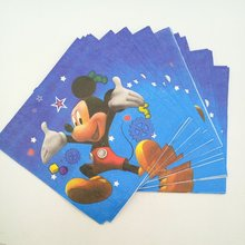20pc/bag Cute Cartoon Mickey Mouse Party Supplies Paper Napkin Birthday Party Decoration And Party Supplies For Kids 20pc set cute cartoon batman party supplies paper napkin boys motion batman decoration and birthday party supplies for kids