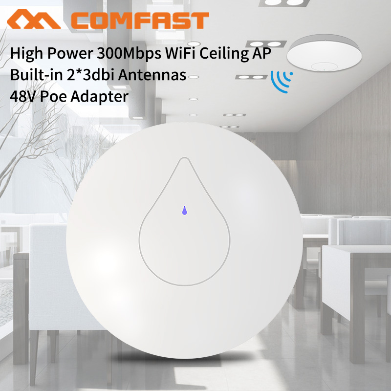 300Mbps Wireless Wifi Router Ceiling AP Router 2.4Ghz Strong Indoor Access Point Wifi Repeater Wifi Extender 48V POE OPEN WRT AP lafalink pw300s48c 300mbps 2 4g wireless inwall poe access point 48v wifi extender