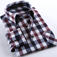 Spring 2017 Men s Casual Plaid Shirts Long Sleeve Slim Fit Comfort Soft Brushed Flannel Cotton