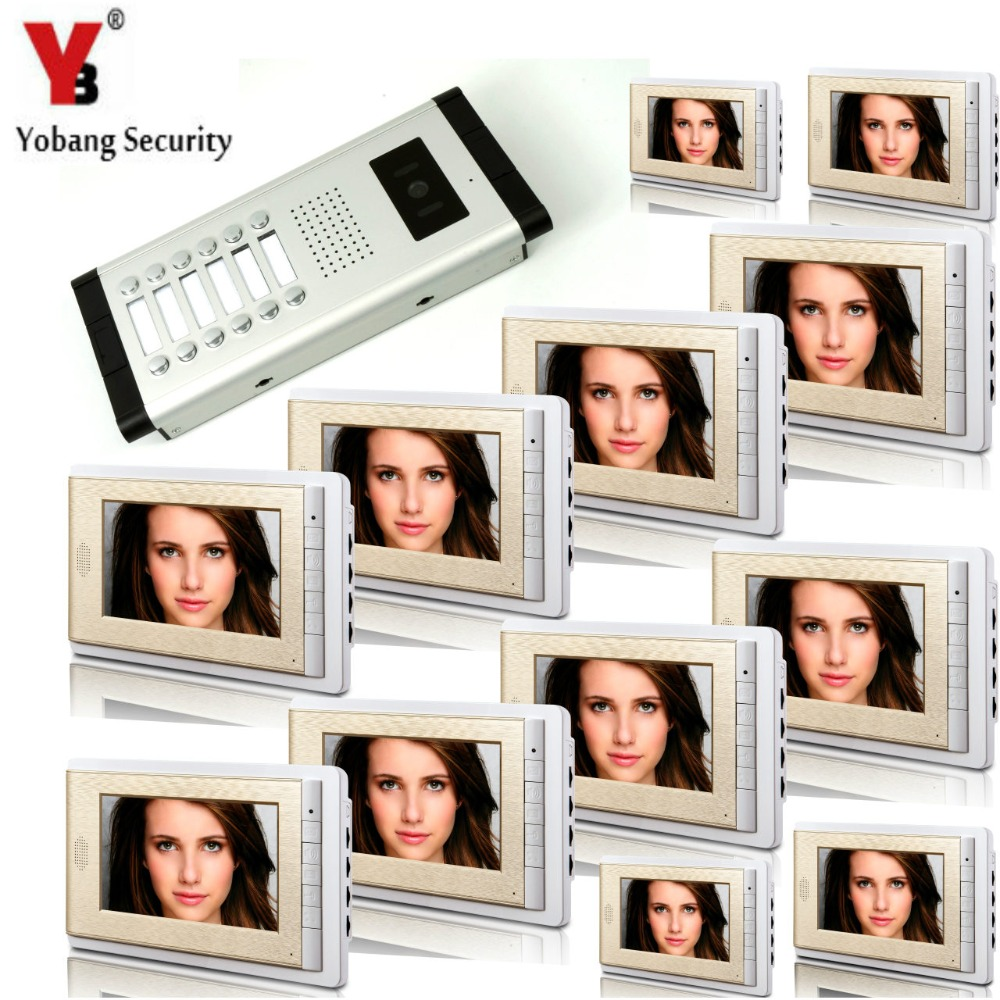 YobangSecurity 12 Units Apartment Intercom 7 Inch Monitor Video Intercom Doorbell Door Phone Video Intercom Entry Access System apartment video intercom system 6 units video door phone kit 7 inch monitor for apartment video interphone